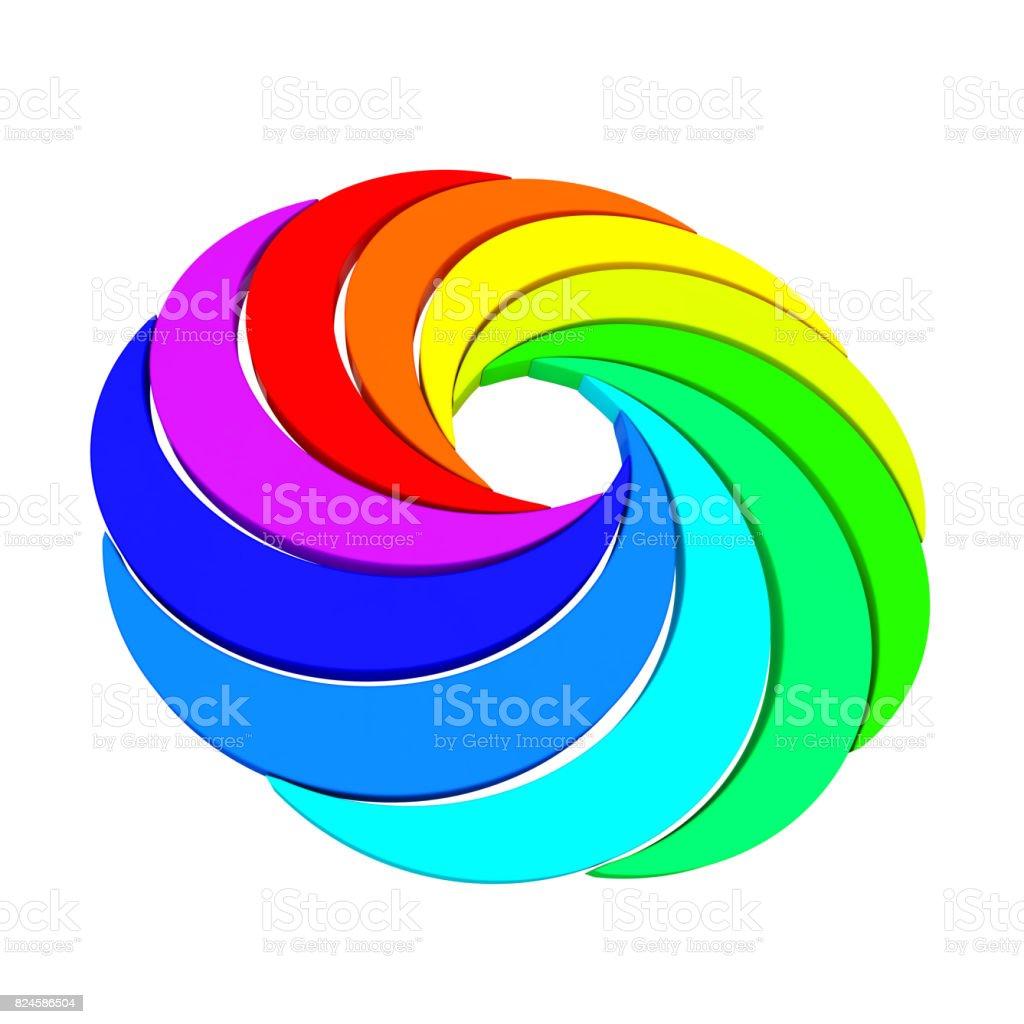 Vortex Color Aperture Wheel. 3d Rendering stock photo