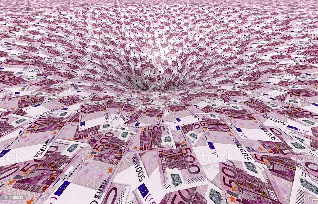 vortex made of 500,- euro banknotes stock photo