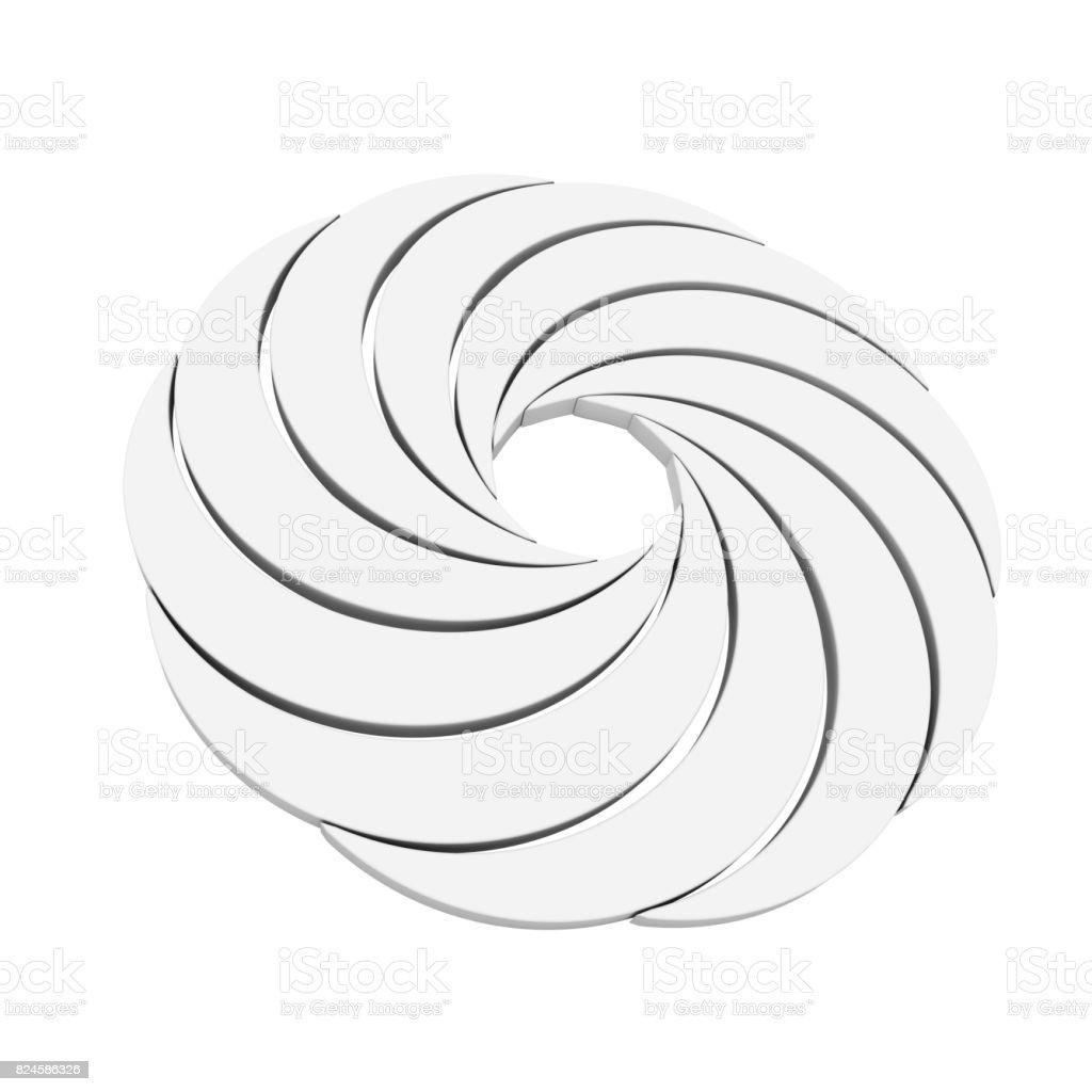 Vortex White Aperture Wheel. 3d Rendering stock photo