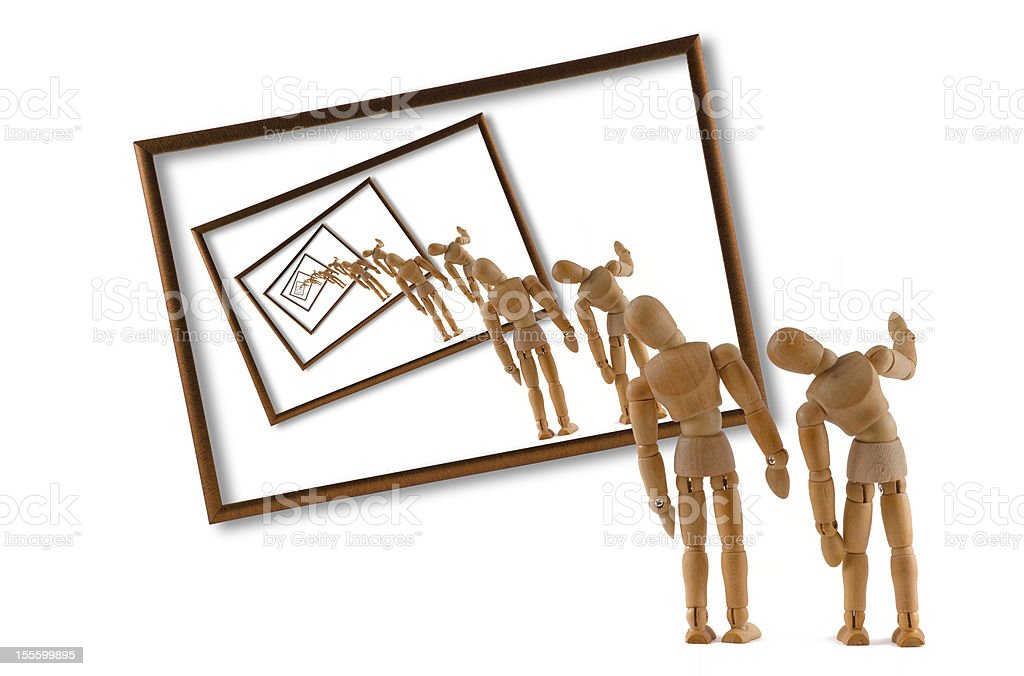 Vortex - Wooden Mannequin and modern art stock photo
