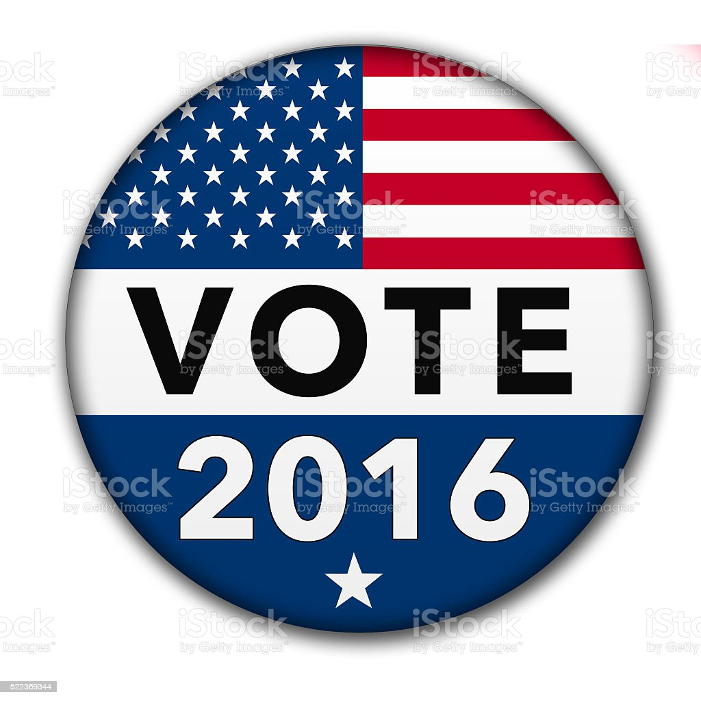 USA Vote 2016 Button with Clipping Path stock photo