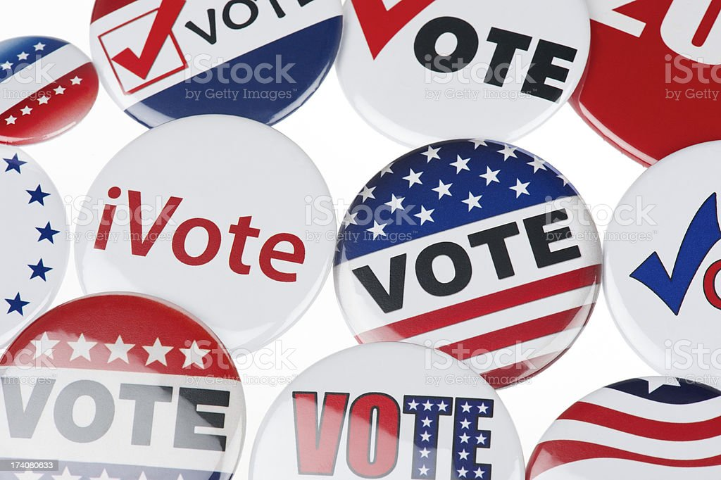 USA Vote American Election Buttons White Background royalty-free stock photo