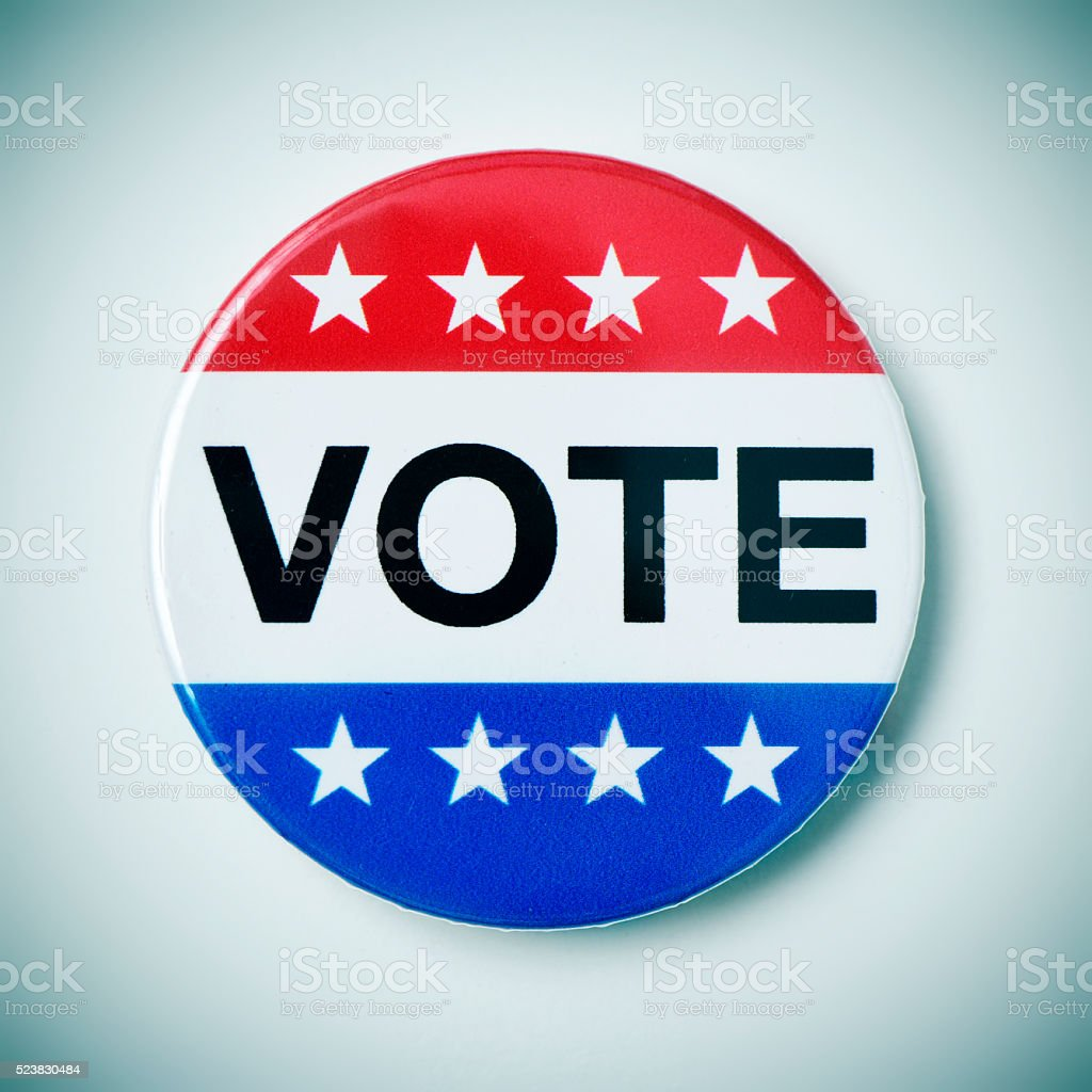 vote badge for the United States election stock photo