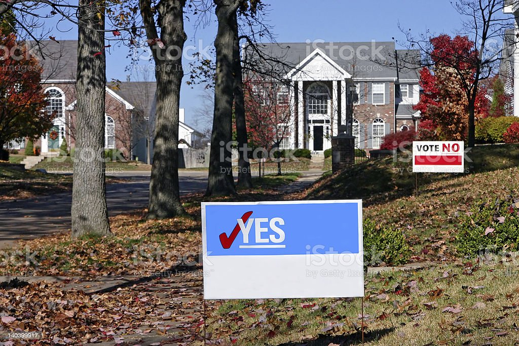 Vote! Blank Signs with yes and no stock photo