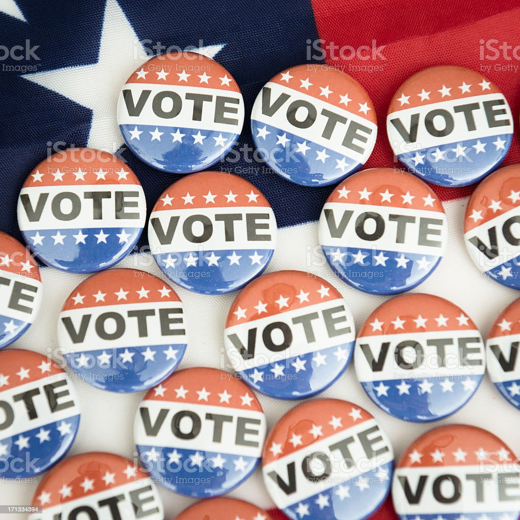 Vote button for the 2012 Election under us flag royalty-free stock photo