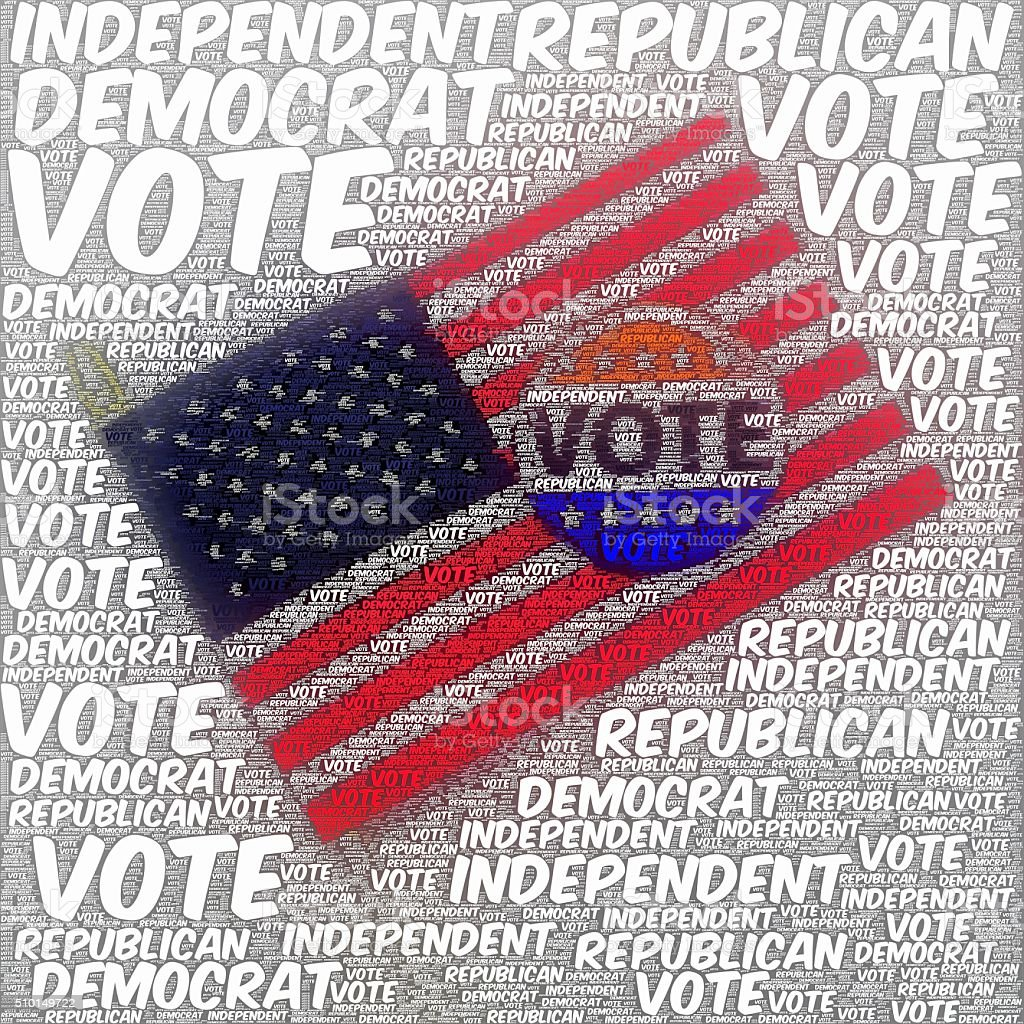 Vote collage Political text over VOTE button and American flag stock photo
