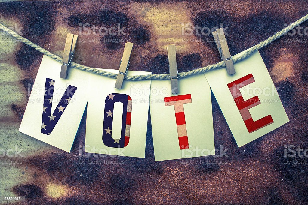 Vote Concept Pinned Cards and Rust stock photo