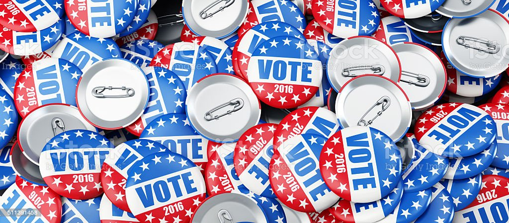vote election badge button for 2016 background 3d Illustrations stock photo
