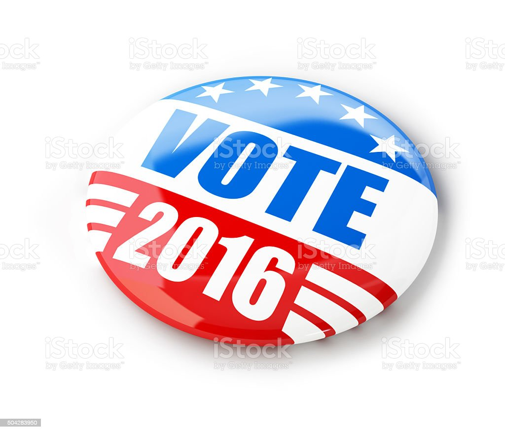 Vote election campaign badge button for 2016 stock photo