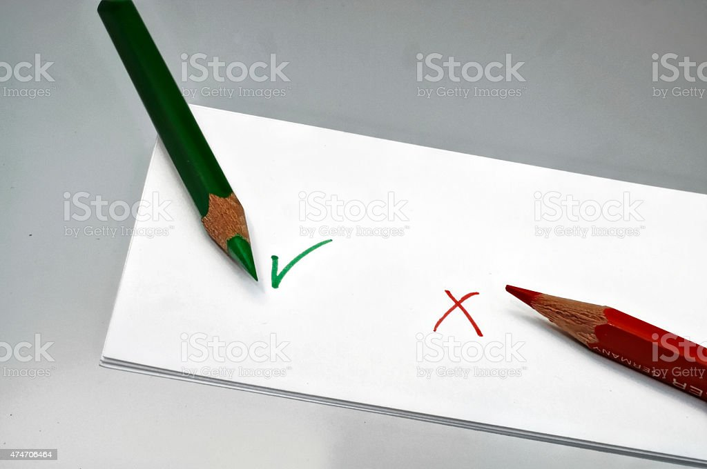 Vote Green OK. red not ok stock photo
