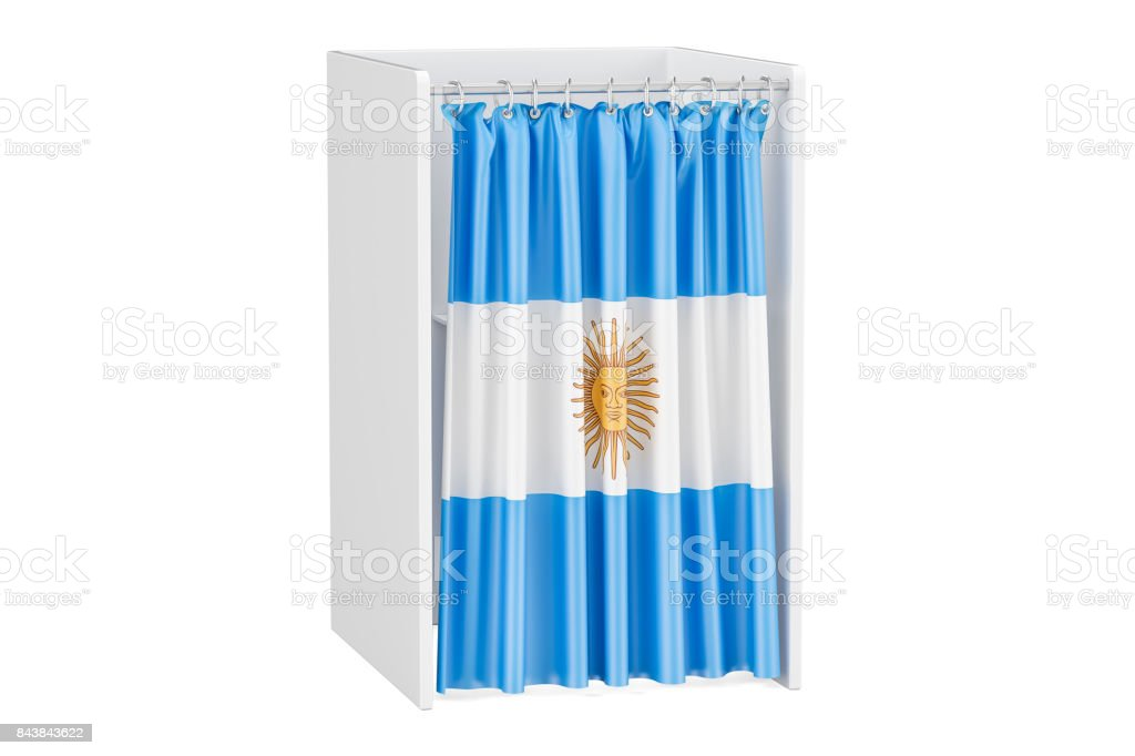Vote in Argentina concept, voting booth with Argentine flag, 3D rendering isolated on white background stock photo