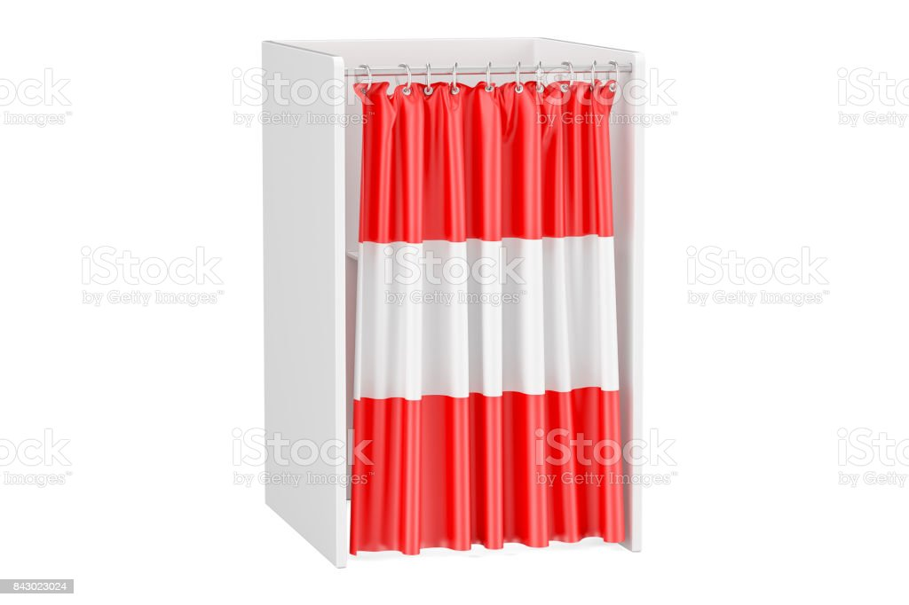 Vote in Austria concept, voting booth with Austrian flag, 3D rendering isolated on white background stock photo