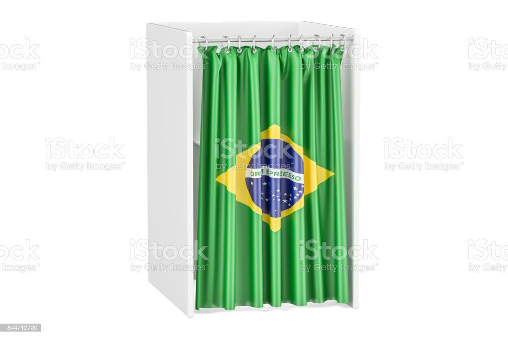 Vote in Brazil concept, voting booth with Brazilian flag, 3D rendering stock photo