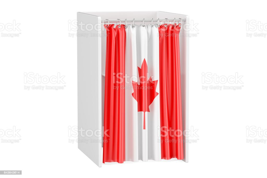 Vote in Canada concept, voting booth with Canadian flag, 3D rendering isolated on white background stock photo