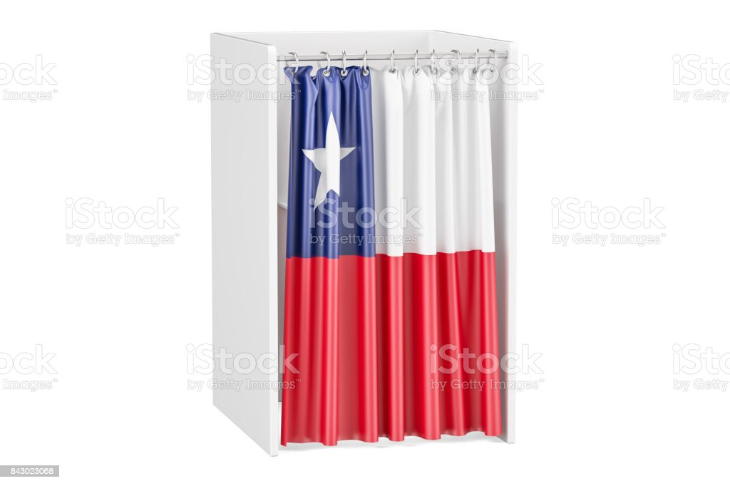 Vote in Chile concept, voting booth with Chilean flag, 3D rendering isolated on white background stock photo
