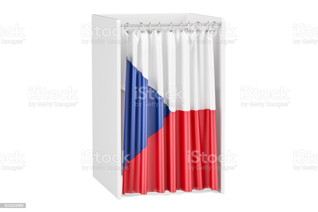 Vote in Czech Republic concept, voting booth with flag, 3D rendering stock photo