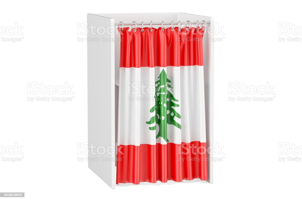 Vote in Lebanon concept, voting booth with Lebanese flag, 3D rendering isolated on white background stock photo