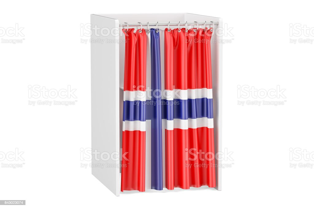 Vote in Norway concept, voting booth with Norwegian flag, 3D rendering isolated on white background stock photo