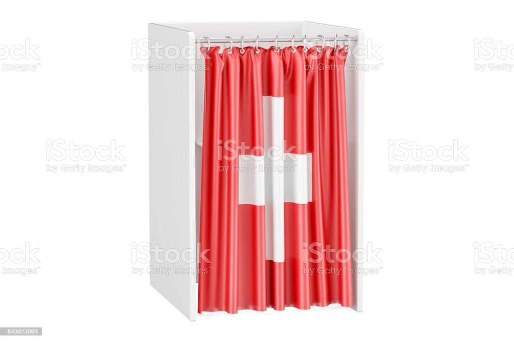 Vote in Switzerland concept, voting booth with Swiss flag, 3D rendering isolated on white background stock photo