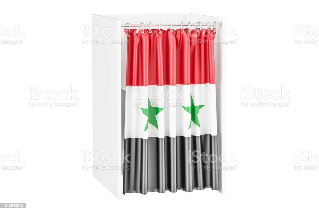 Vote in Syria concept, voting booth with Syrian flag, 3D rendering isolated on white background stock photo