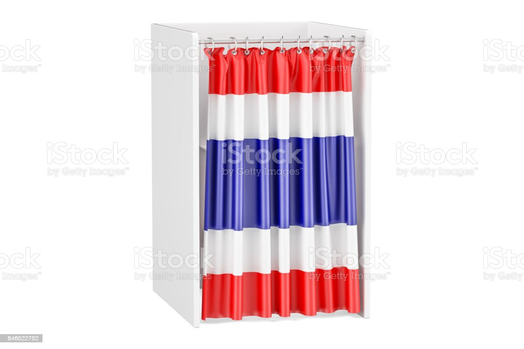 Vote in Thailand concept, voting booth with flag, 3D rendering isolated on white background stock photo