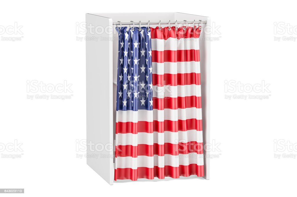 Vote in USA concept, voting booth with American flag, 3D rendering isolated on white background stock photo