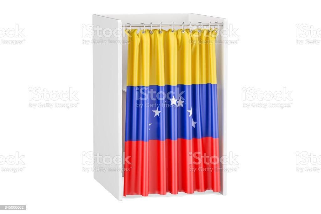 Vote in Venezuela concept, voting booth with Venezuelan flag, 3D rendering isolated on white background stock photo
