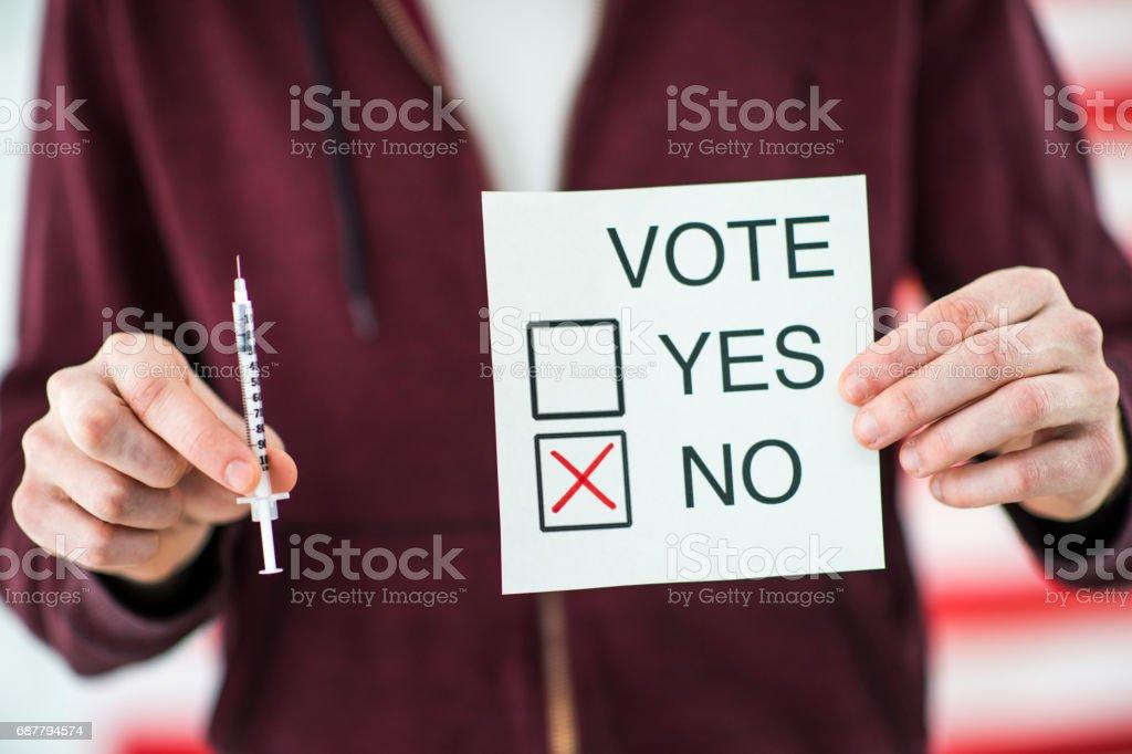 Vote No for Euthanasia stock photo