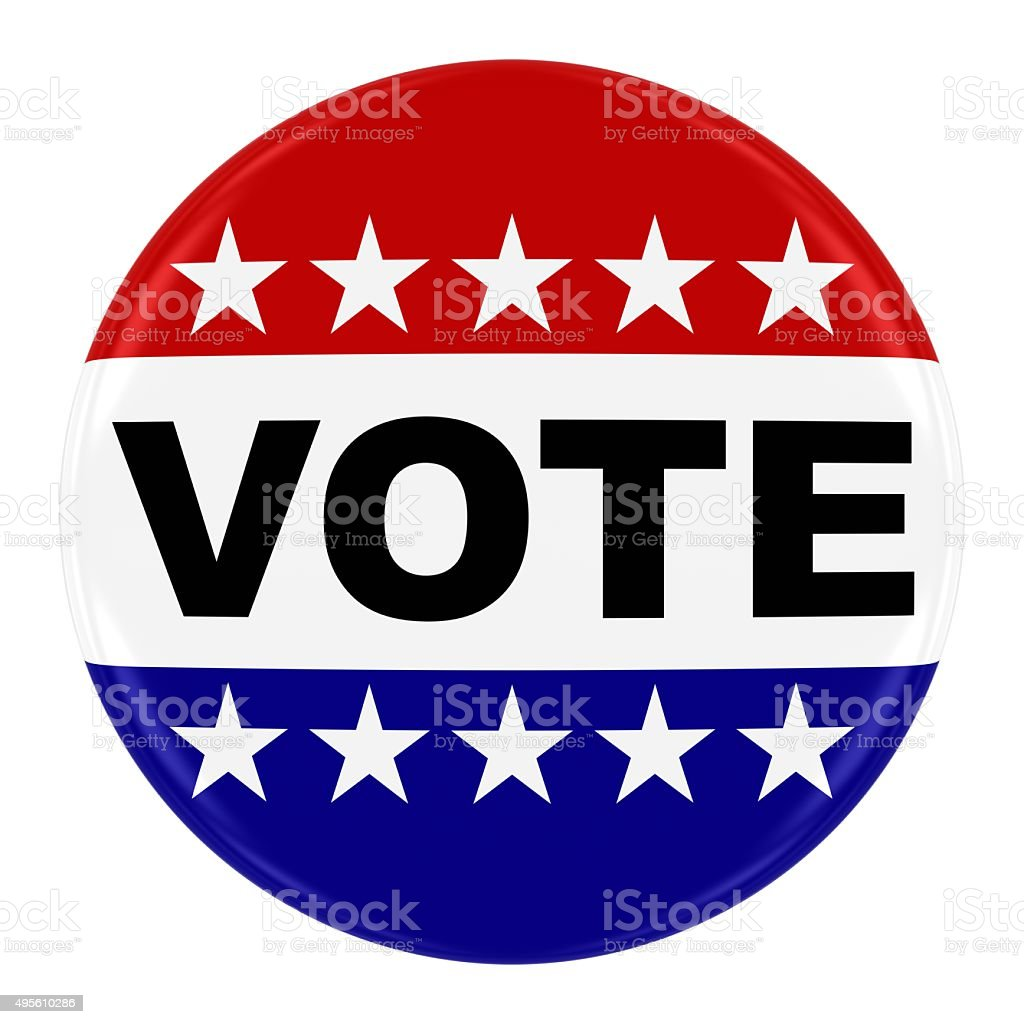 Vote Pin Badge - US Elections Button Isolated on White stock photo