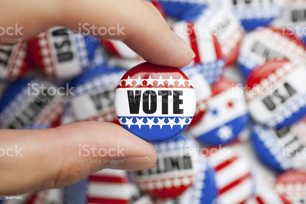 Vote pin for american election stock photo