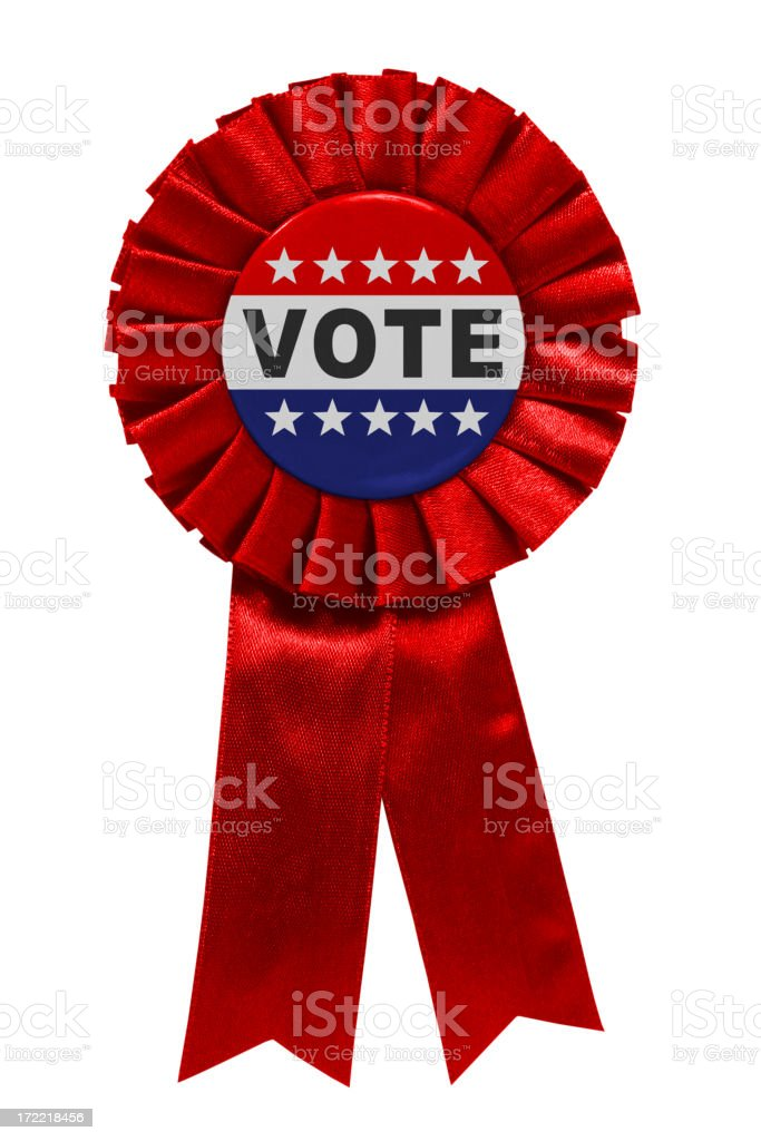 Vote red ribbon stock photo