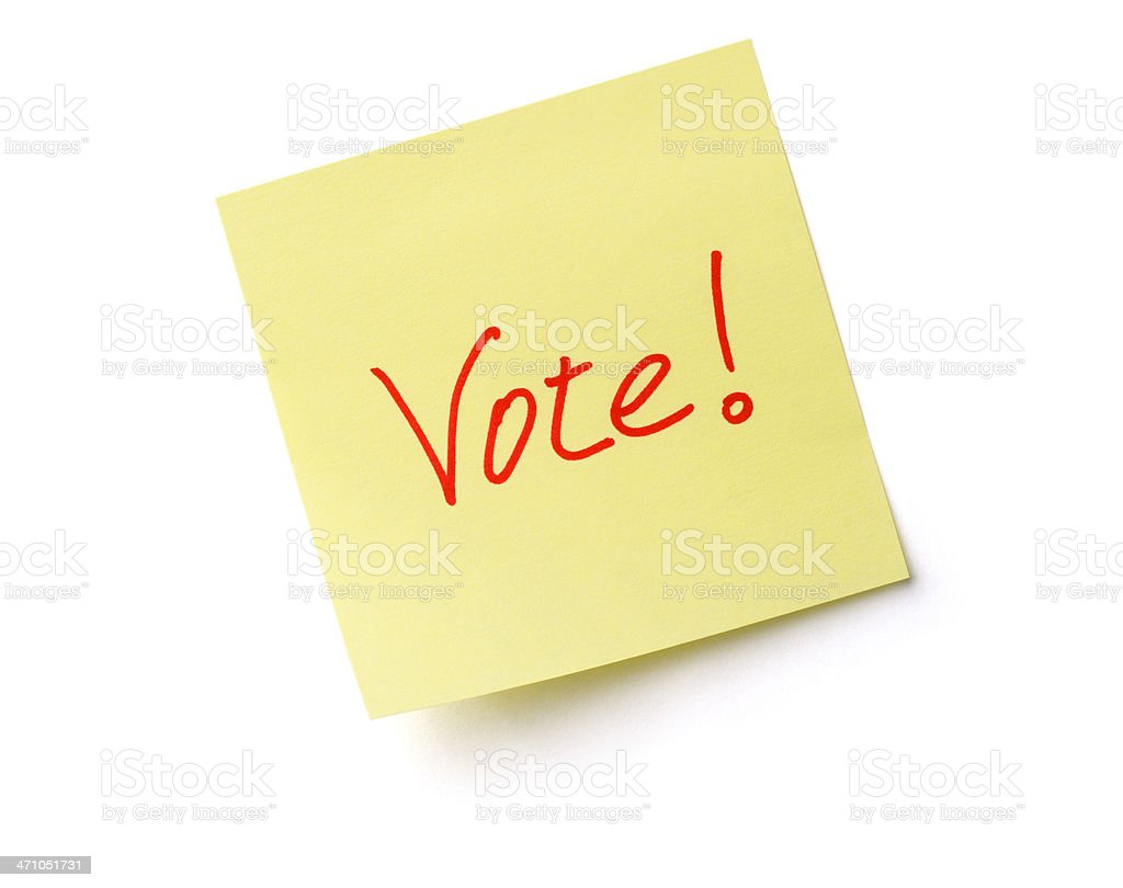 Vote Text on Adhesive Note, an Election Paper Sticky Reminder royalty-free stock photo