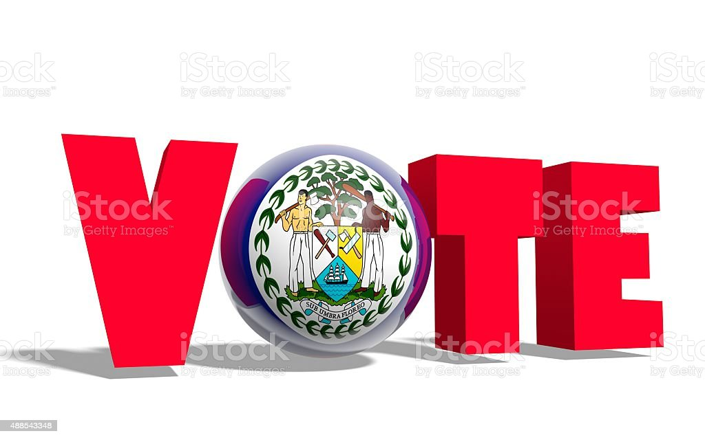 vote text, sphere instead letter textured by belize flag stock photo
