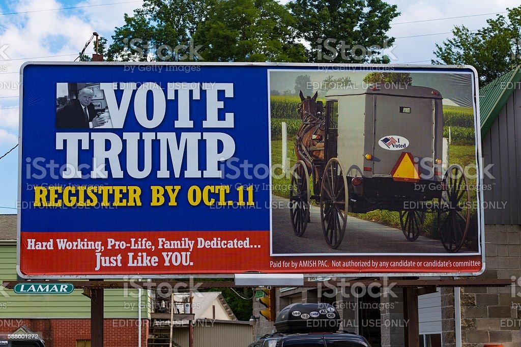 Vote Trump Amish Billboard stock photo