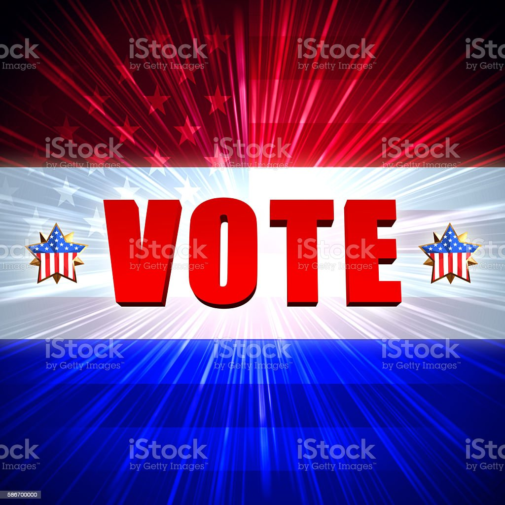 vote with shining american flag and stars stock photo