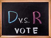 vote word on blackboard