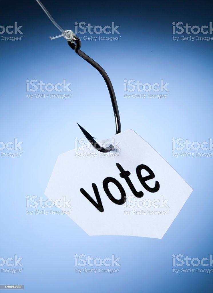 vote word on hook stock photo