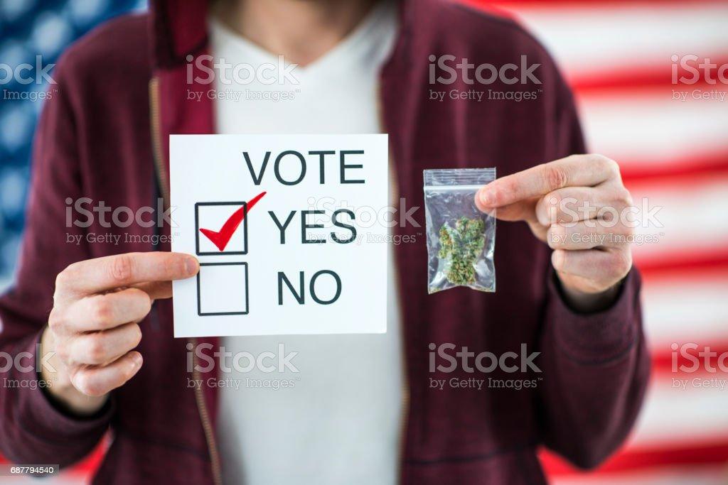 Vote Yes for Marijuana Cannabis Legalization stock photo