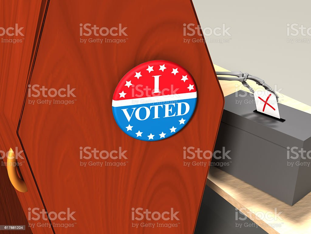 'I Voted' badge for a dead voter / zombie voter stock photo
