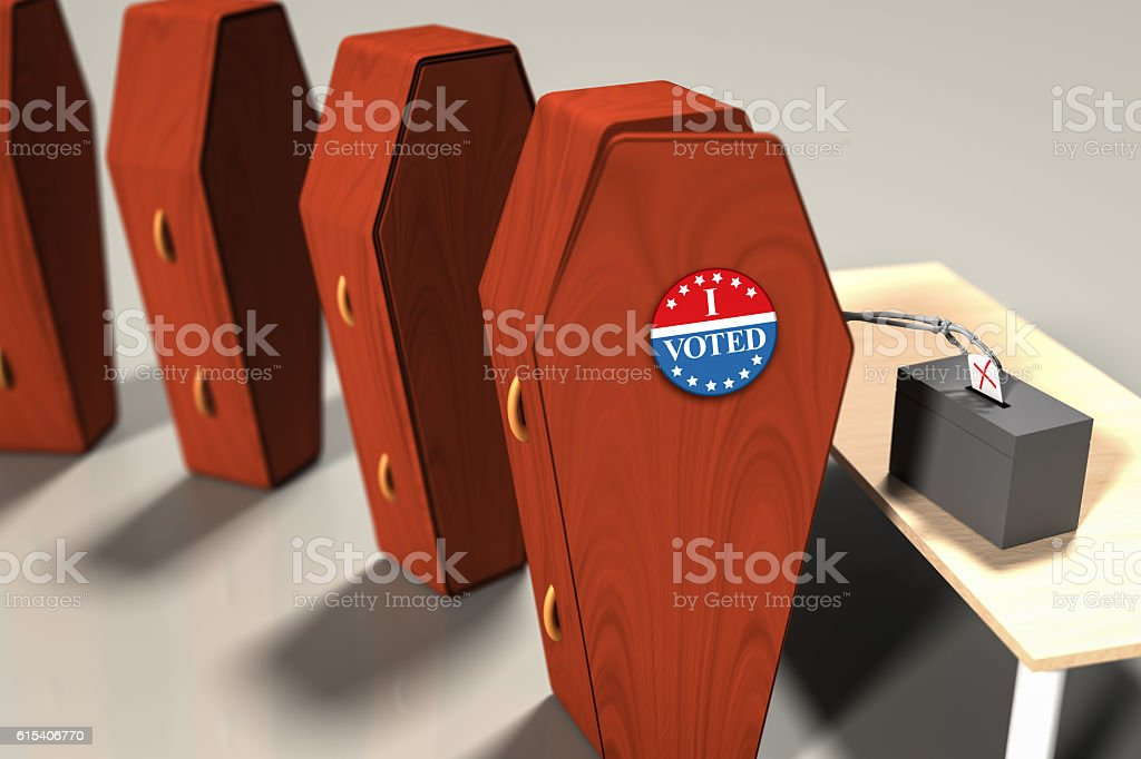 I Voted, dead voter, zombie voter stock photo