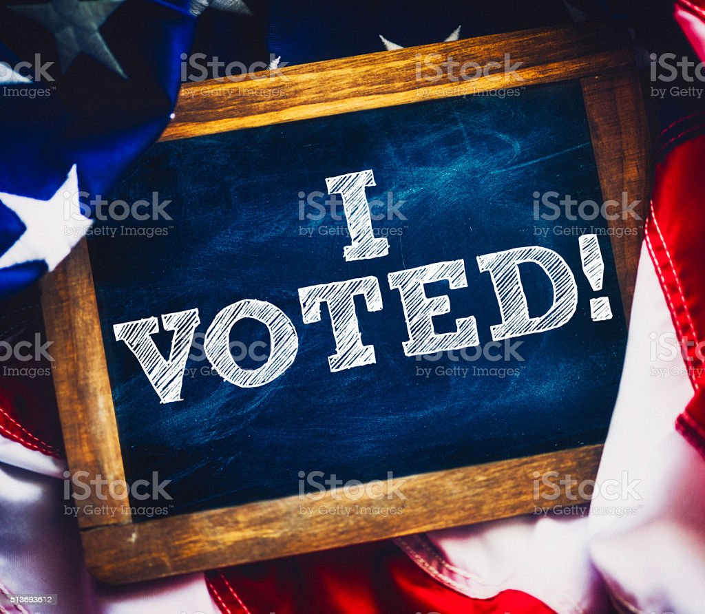 I voted! Message on chalkboard stock photo