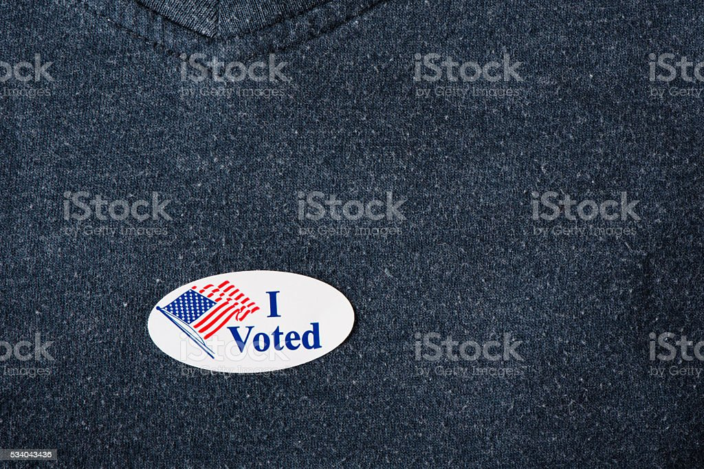 'I voted' sticker on shirt stock photo