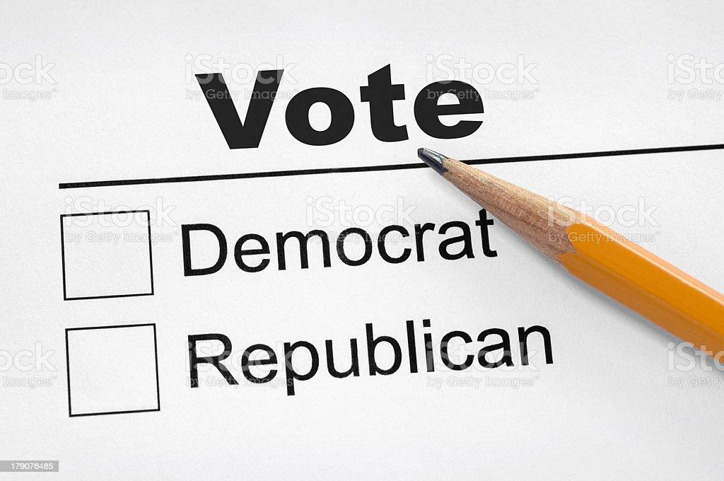 Listes de vote-démocrates ou républicain photo libre de droits