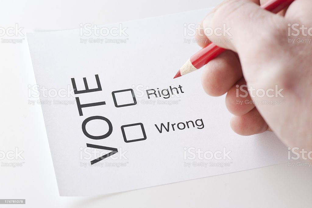 Voter Ballot Right and Wrong royalty-free stock photo