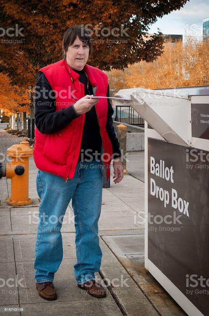Voter Casting Ballot stock photo