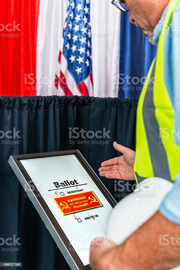 Voter surprised that his vote was hacked by Russia stock photo