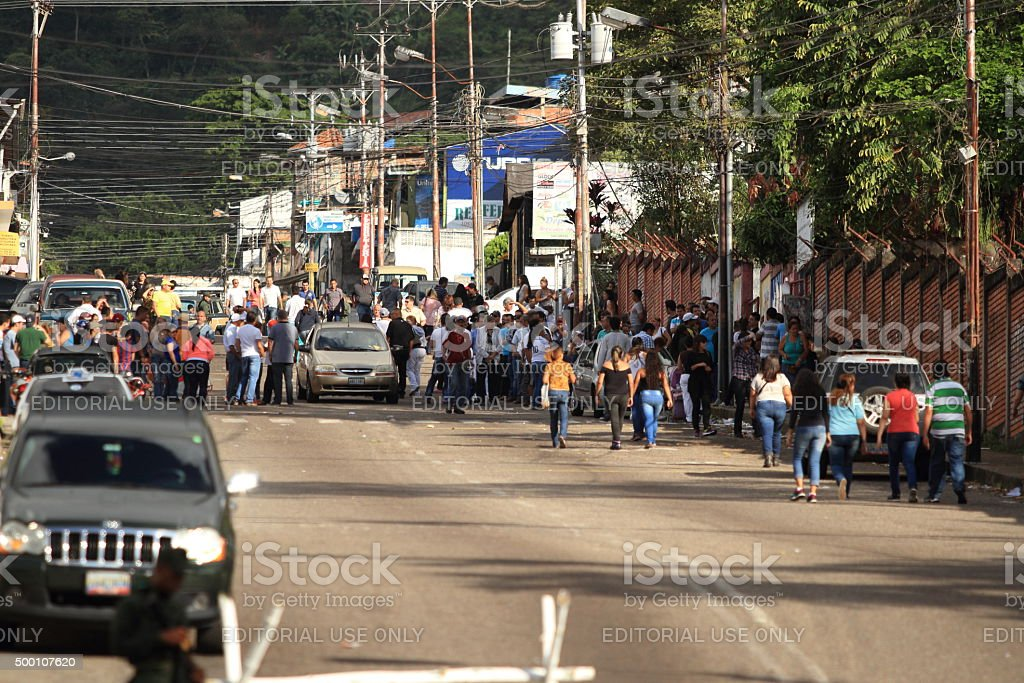 Voters for the 2015 National Parliament Elections in Tachira Venezuela stock photo