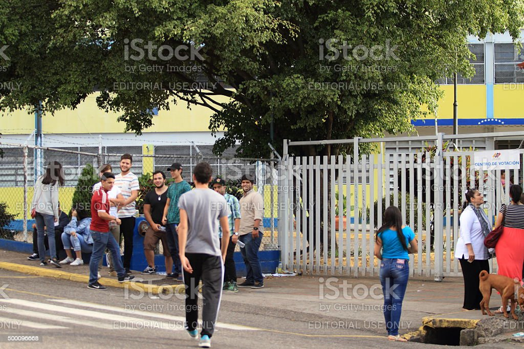 Voters for the 2015 National Parliament Elections in Venezuela stock photo
