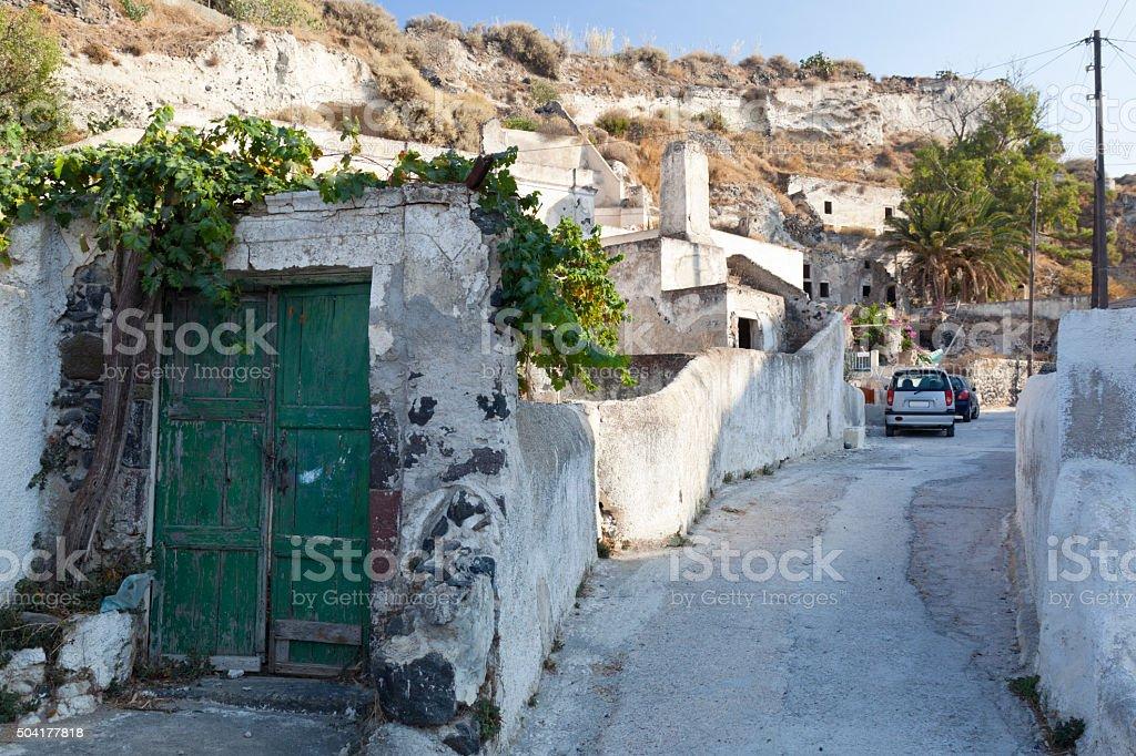 Vothonas Streets, Santorini stock photo