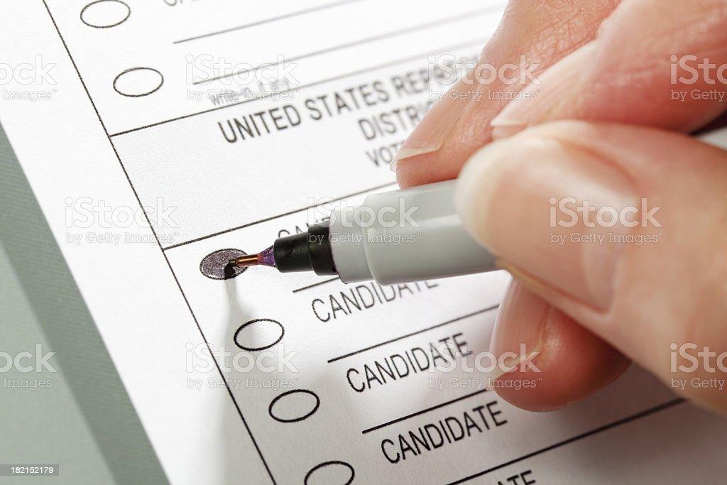 Voting Ballot for United States House of Representatives Electio stock photo